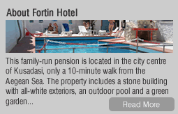About Fortin Hotel: This family-run pension is located in the city centre of Kusadasi, only a 10-minute walk from the Aegean Sea. The property includes a stone building with all-white exteriors, an outdoor pool and a green garden